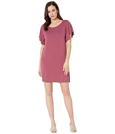 Lucky Brand Ruffle Sleeve Dress (Maroon) Women