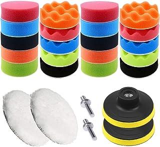 26PCS Kit de Almohadillas de Pulido, 22pcs 80 mm (3 inch) Esponja Pulir para Coche, Almohadillas de Pulidor de Esponja, Almohadilla de Pulido de Lana y Adaptador M10 para Pulidor y Depilación