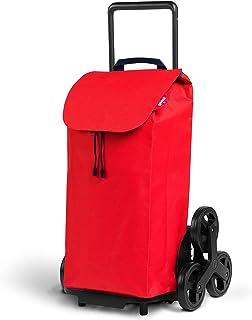 Gimi Wózek na zakupy z 6 kółkami, torba wodoszczelna, 100% poliester, pojemność 52 l, 44,1 x 50,7 x 95,6 cm, czerwony, Grande