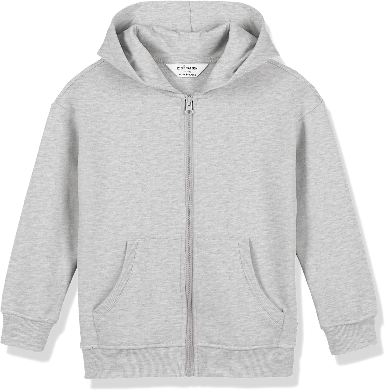 Kid Nation Kids Unisex Soft Fleece Hooded Sweatshirt Drop Shoulder Zip Up Hoodie for Boys or Girls 4-12 Years
