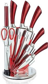 KAMBERG - 8132 - Bloc couteaux 8 pcs en Acier Inoxydable - Support Acrylique - Couteaux de cuisine - Rouge