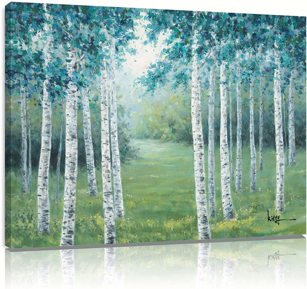 Birch Canvas Wall Art Painting Teal Green Landscape Picture Tree Pictures Wall Decor Aspen Poster Giclee Print Artwork for Home Bedroom Bathroom Ready to Hang 18