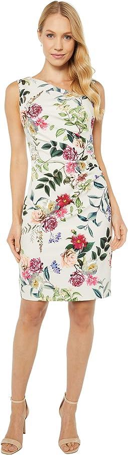 Parisian Garden Draped Sheath Dress