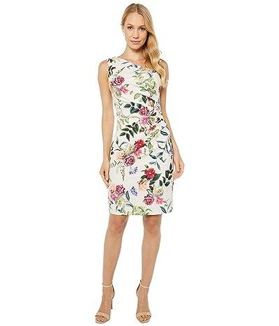 Adrianna Papell Parisian Garden Draped Sheath Dress (Ivory Multi) Women