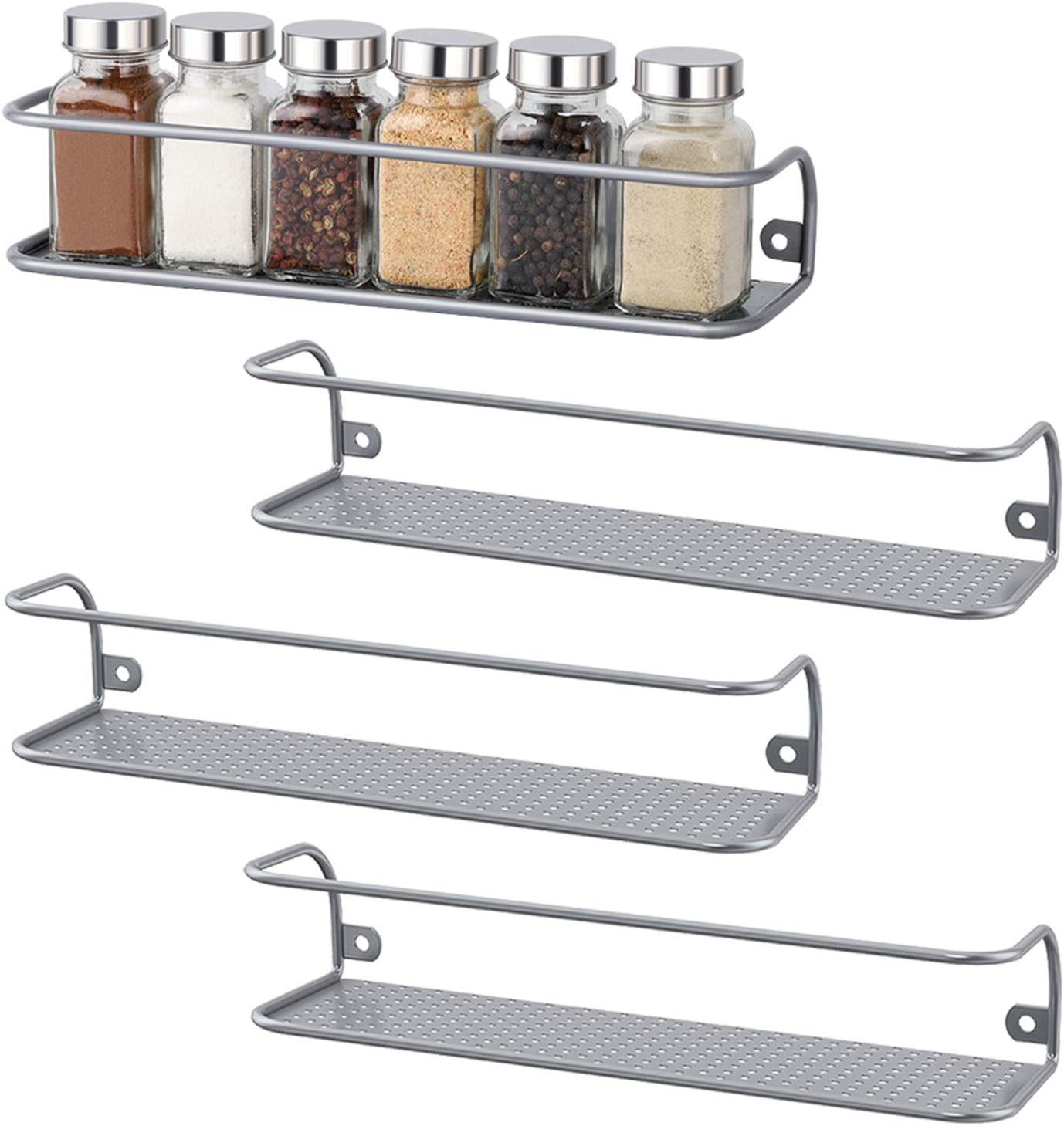 Spice Rack Organizer for Cabinet- Spice Rack Wall Mount Cupboard /& Pantry Set of 4 Hanging Spice Rack in Chrome Spice Shelf for your Kitchen Cabinet Cabinet Door Organizer