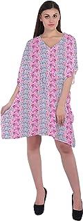 RADANYA Animal Print Short Casual Cotton Kaftan Evening Summer Beach Dress Caftan for Women