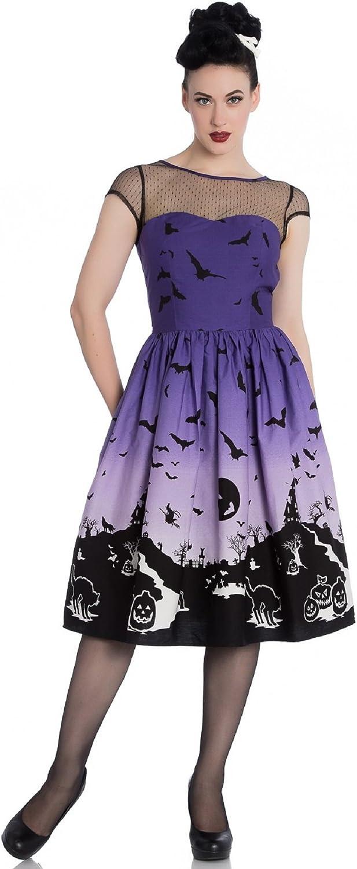 Hell Bunny Haunt 50's Dress Halloween Scene Purple