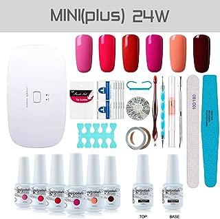 Gel Nail Polish Starter Kit, with 24W SunMini Plus UV LED Nail Dryer Manicure Tools, 6 Classic Gel polish Set Top and Base Coat, Portable Kit for Travel by Vishine #10
