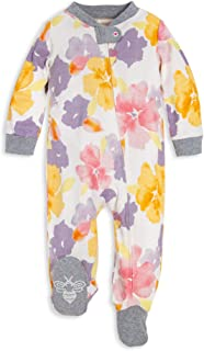Burt's Bees Baby - Unisex Baby Sleep & Play, Organic Pajamas, NB - 9M One-Piece Zip Up Footed PJ Jumpsuit