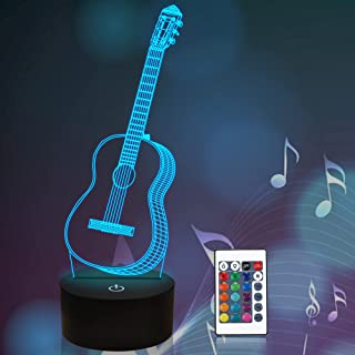 CooPark 3D Night Light Guitar Gifts For Music Lovers, Illusion Lamp With Remote Control 16 Colors That Amazing Range Of Id...