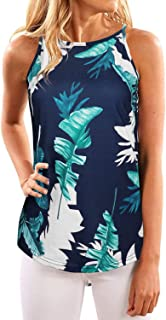 OUGEES Women's Summer Floral Print Tanks Camis Casual Halter Tops Shirts