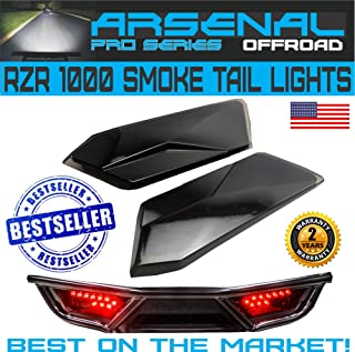 #1 Polaris RZR Smoked LED Tail Lights by Arsenal Rear Tail Lamp Replacement for POLARIS 2014-2019 RZR 1000 900 XP 4 TURBO (1 Pair) Best on the Market!