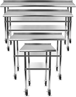 GRIDMANN NSF Stainless Steel Commercial Kitchen Prep & Work Table w/Backsplash Plus 4 Casters (Wheels) - 48 in. x 24 in.