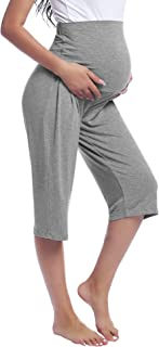 Joyaria Womens Pregnancy Pants Over The Belly Capri Maternity Pants Lounge Trousers