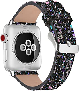iiteeology Compatible with Apple Watch Band 38mm 40mm 42mm 44mm, Christmas Sparkly 3D Glitter Bling Leather iWatch Band for Apple Watch Series 5/4/3/2/1 Women Girls (Black, 38mm)