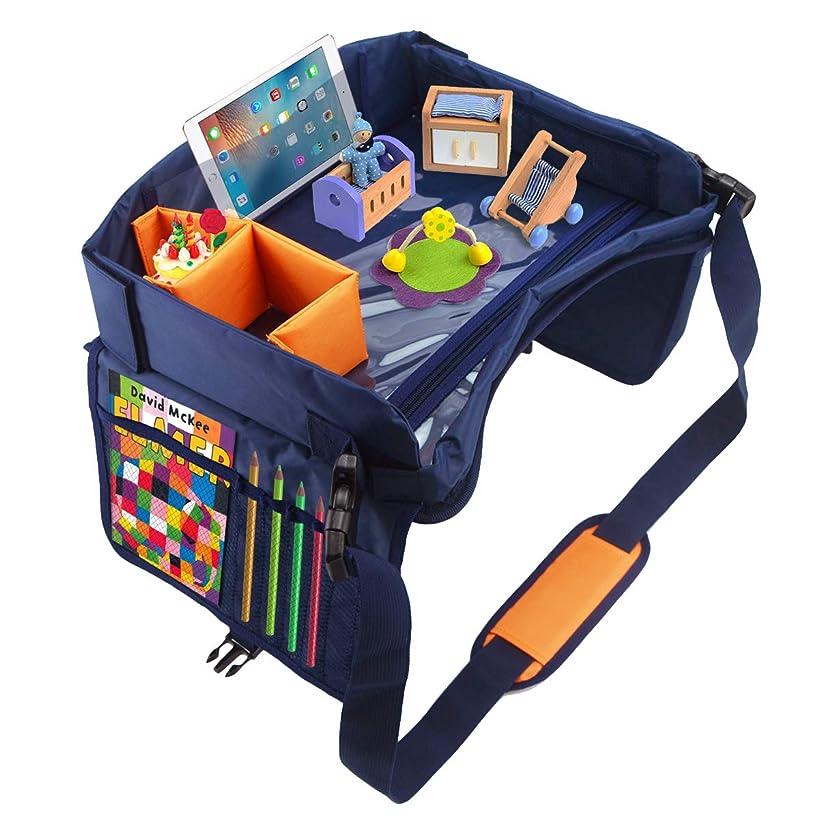 Kids Travel Car Seat Tray | Toddler Travel Tray | Car Travel Road Trip Travel Soft Padding, Waterproof Food & Snack Lap Tray, Storage Organizer, Activity Tray, Stroller Tray, Play Tray