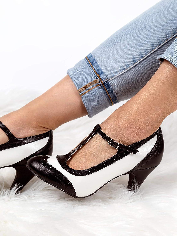 J. Adams Tango Heels for Women - T-Strap Round Toe Retro Oxford Pumps