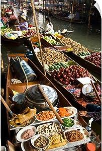 CANVAS ON DEMAND Damnoen Saduak Floating Market, Two Wall Decal, Photography Artwork