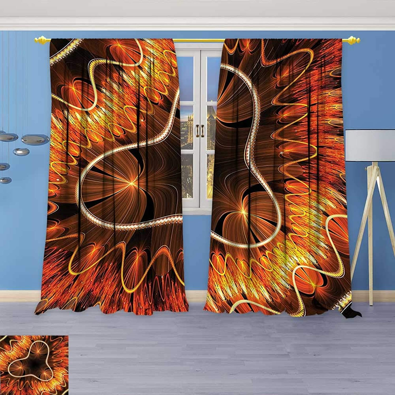 Design Print Thermal Insulated Blackout Curtain Electromagnetic Waves Textured Dynamic Effects Artful Graphic Vermilion Copper for Living Room