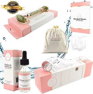 Derma Roller, Jade Roller & Hyaluronic Acid Serum | Anti-aging Facial Skin Care | Reduce Dark Under- Eye Circles | 540 Titanium Microneedles 0.3mm | ✨ Marvelush Skincare Bundle ✨