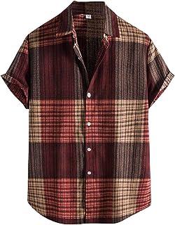 Camisa de manga corta para hombre, estilo hawaiano, para primavera y verano, estilo retro, vintage, con flores, vacaciones...