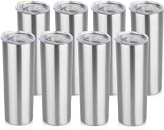 HASLE OUTFITTERS 20 oz Stainless Steel Skinny Tumbler bulk, Double Wall Vacuum slim Water Tumbler Cup with lid, Reusable M...