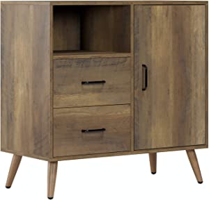 HOMECHO Storage Cabinet Wide Dresser Drawer Chest with 2 Drawers and 1 Side Door, Modern Sideboard Cupboard for Living Room, Bedroom, Kitchen, Hallway, Rustic Brown