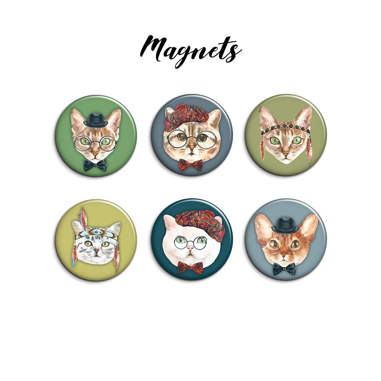 Tiffany McCoy Arts Cats in Hats 1.25 inch 6pcs Magnet set