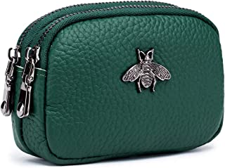 Coin Pouch Leather Change Purse, 2-Zippered Small Wallet(Green)