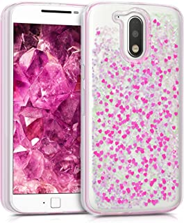 kwmobile TPU Silicone Case for Motorola Moto G4 / Moto G4 Plus - Soft Flexible Protective Cover with Flowing Liquid - Dark Pink/Transparent
