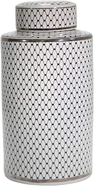 Sagebrook Home Vc10464-05 Ceramic Jar, 9 X 9 X 18, Black/Silver
