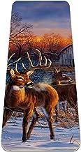 Yoga Mat - herten glorie decoratieve winter sneeuw land boerderij buck - Extra dikke antislip oefening & fitness mat voor ...