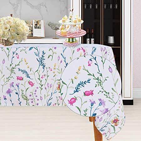 Table Cover Kitchen Dining Room Spring Dinner Easter Wedding Decorations Round 52 Finest Floral Coloring Round Easter Tablecloth Spring Non-Iron Stain Resistant
