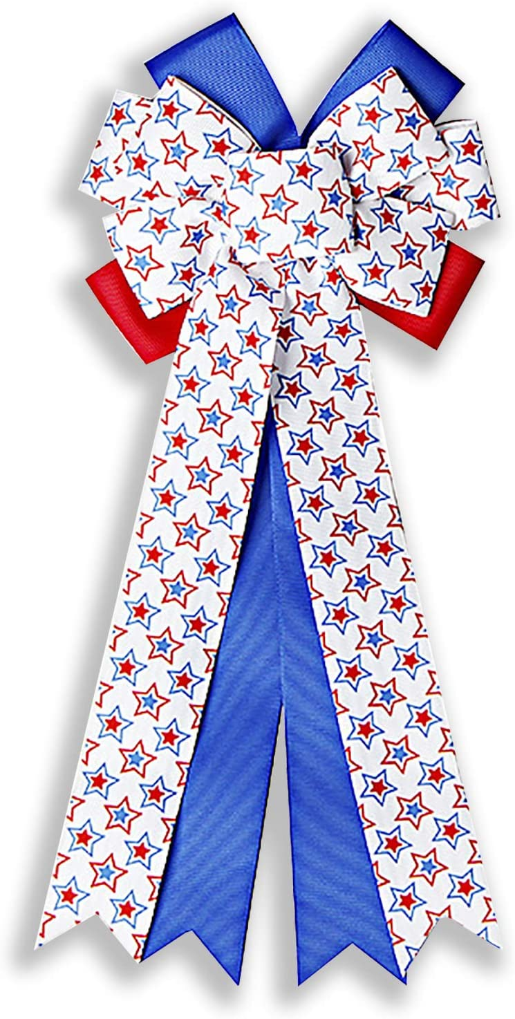 SALENEW very popular! Samanter Patriotic Wreath Bow Blue Star Direct stock discount Tree Pary White Red