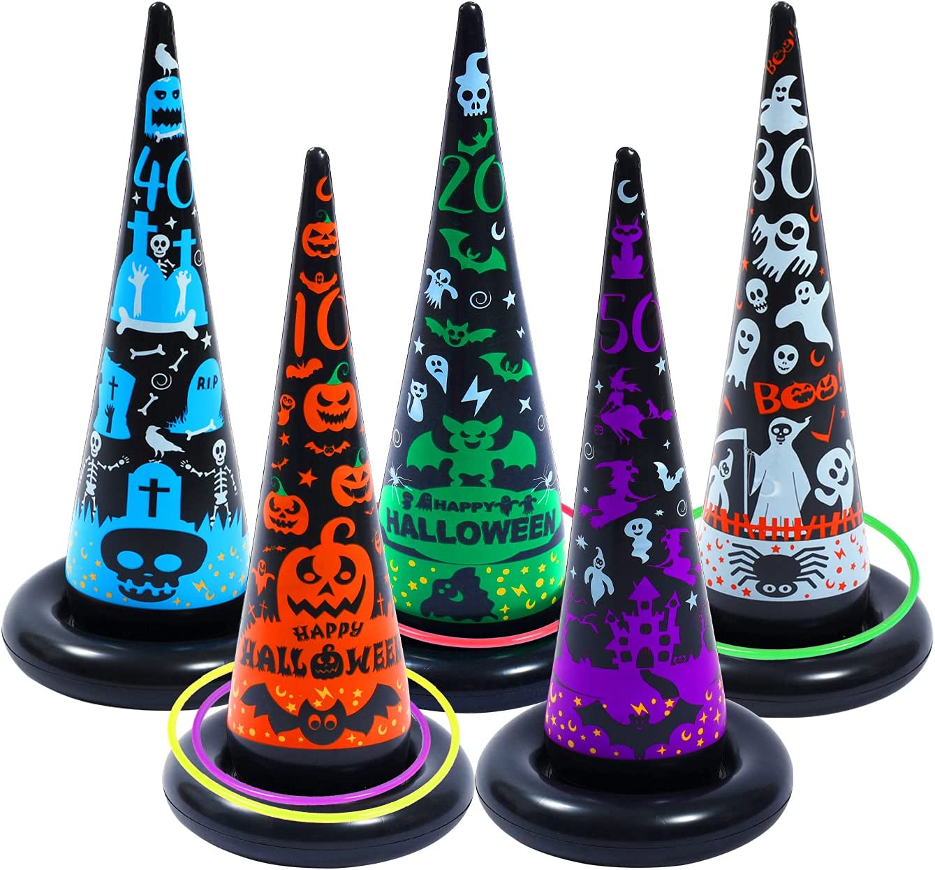 Dokeawo Inflatable Witch Large Limited Special Price special price Hat Ring Toss Halloween Ri Game 16 Pcs