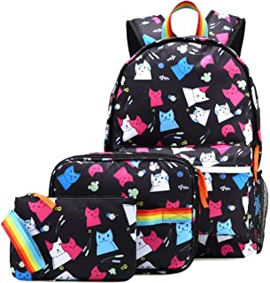 Cat Backpack Set for Girls Kitty School Bookbag 3 Pieces Cute Rainbow Book Bags 14inch Laptop Bag for Girl, Black
