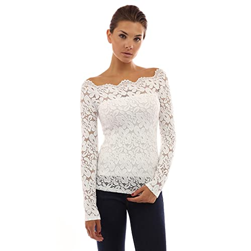 c2cef248c4f1d PattyBoutik Women Floral Lace Off Shoulder Top