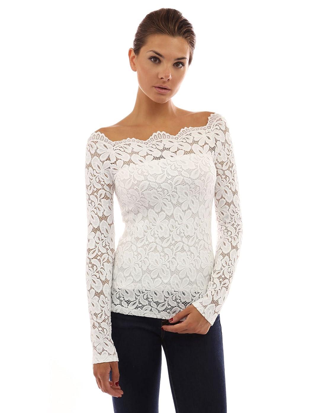 PattyBoutik Women Floral Lace Off Shoulder Top