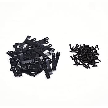 BCP 50pcs Black Picture Photo Frame Saw Tooth Hooks with Screws