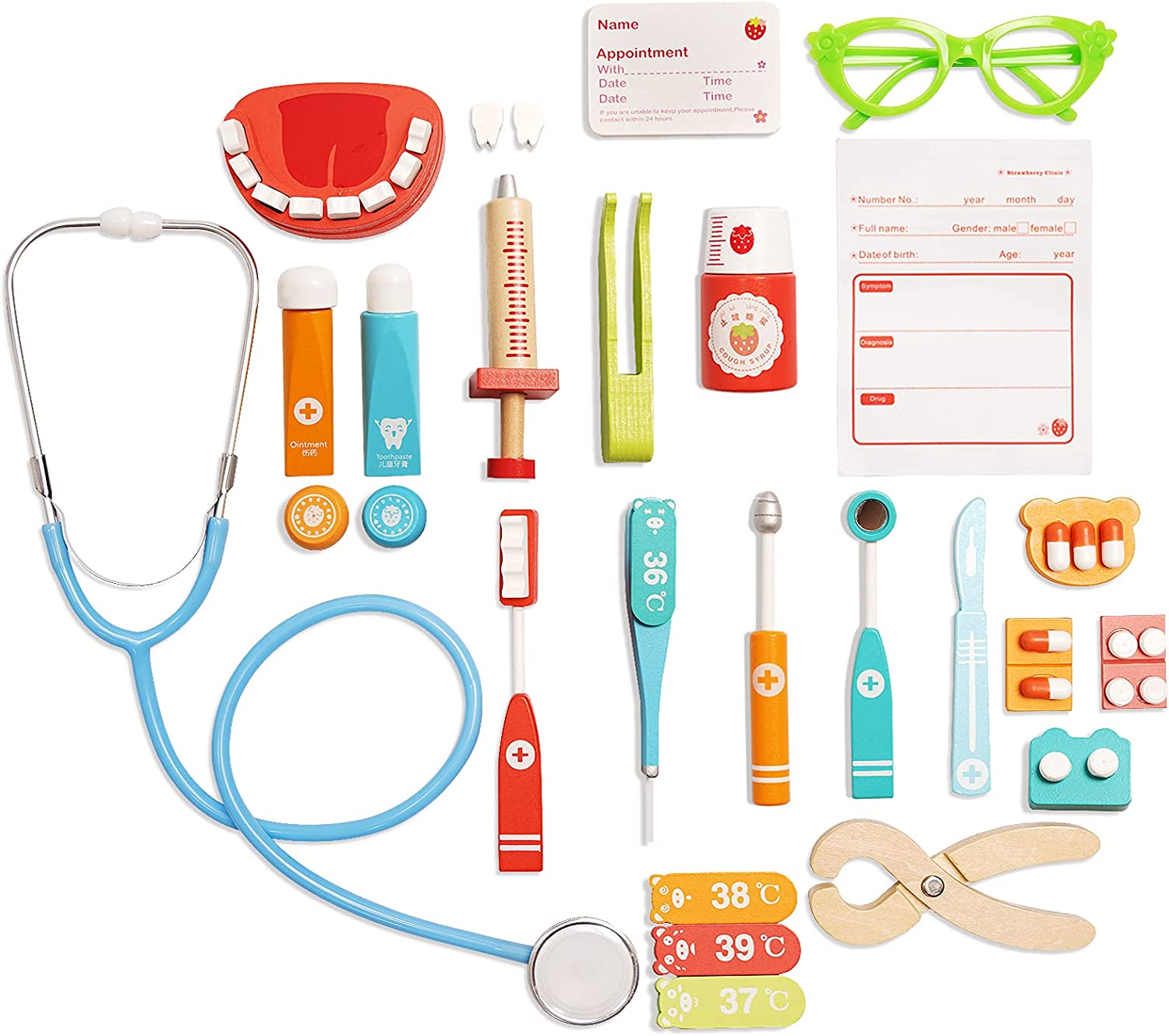 XAOHAO Doctor Kit for Fees free!! Kids Max 69% OFF Pretend Wooden Set Play
