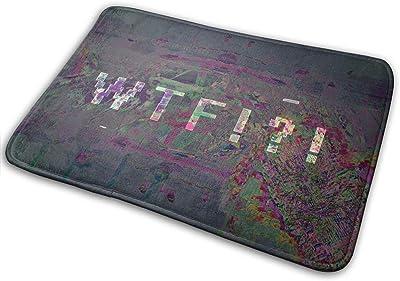 Non-Slip Doormats WTF Glitch Entrance Rug Indoor/Outdoor Carpet Absorbs Moisture Washable Dirt Trapper Mats