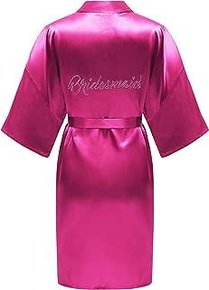 ALHAVONE Women's One Size Rhinestone Bride Bridesmaid Silky Short Kimono Robe Solid Color for Wedding Getting Ready