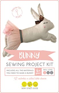 Sewing Project Kit for Kids by SewCraftCook | Sewing Machine Project Kit with Fabric | Sewing Kits for Kids for Hand or Machine Sewing | (Bunny)