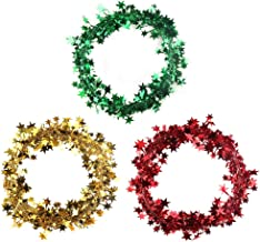 VEYLIN Pack of 3 Star Tinsel Garland with Wire, Assorted Color Wire Garland for Christmas Tree, 7.5 Meters Each Roll