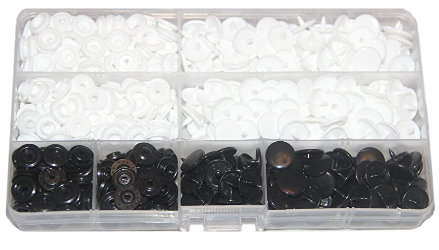 150 Sets KAM Snaps Storage Container White & Black Size 20 T5 Fasteners Punch Poppers Buttons for Cloth Diaper/Bibs/Unpaper Towels/Nappies/Buttons/Mama Pads