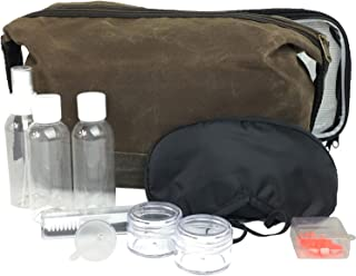 Extra Large Waxed Canvas Toiletry Bag for Men - Travel Toiletry Kit includes Clear TSA Approved 3-1-1 Travel Toiletry Bag with Containers and Travel Eye Mask for Sleeping with Ear Plugs Chocolate
