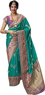Light Blue Designer Indian Women Ethnic Traditional Style Soft Banarasi Silk Printed Sari Blouse 5772