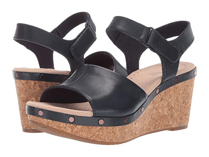 Clarks  Annadel Clover (Navy Leather) Womens Wedge Shoes