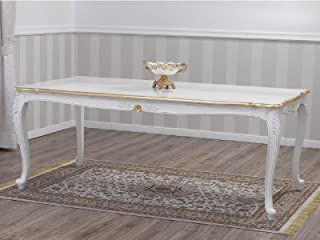 SIMONE GUARRACINO LUXURY DESIGN Table à Manger Veronique Style Baroque Décapé rectangulaire Ivoire et Feuille Or 205 x 105 cm