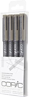 Copic Markers Multiliner Gray Pigment Based Ink, 4-Piece Set
